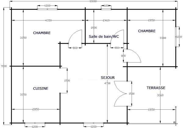 Plan de chalet en bois plein pied joy studio design Plan chalet bois