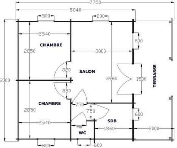 Chalet en kit sozopol environ chalets en kits for Plan maison 60m2