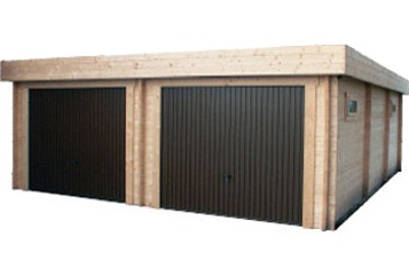 Garage bois garage en bois kit pr t monter for Garage toit plat bois