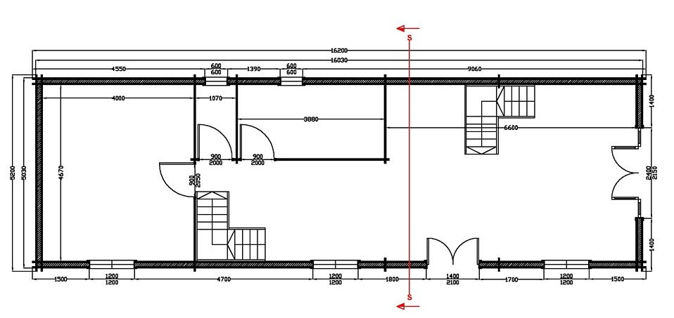 plan rdc maison bois