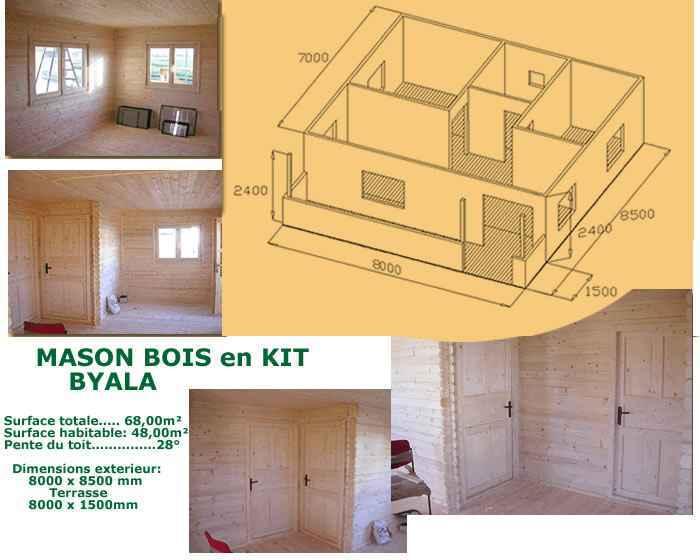 Vous propose maison bois en kit elena environ 51m2 pas chere maison bois kit en - Maison kit bois autoconstruction ...