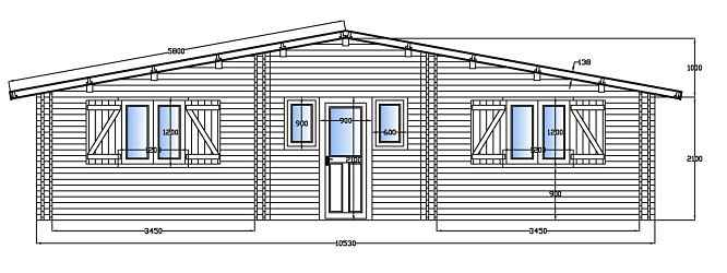 Maison bois en kit albena 63 m au sol livr d partement for Plan facade maison