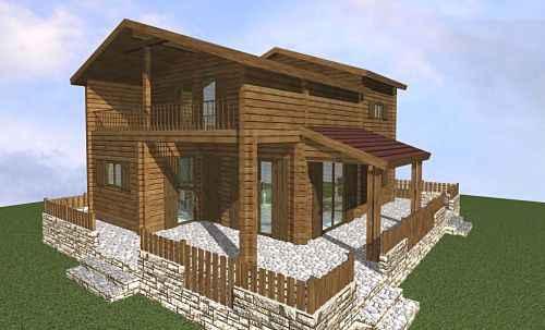 chalet bois en kit l gance avec shob et surface habitable de 92m installation en usine. Black Bedroom Furniture Sets. Home Design Ideas