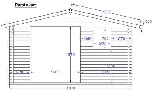vue facade de la maison bois kit byala